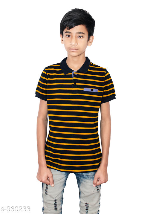 Tshirts & Polos Elegant Cotton Knitted Boy's Tshirt  *Fabric* Cotton Knitted  *Sleeves* Half Sleeves Are Included  *Size* Age Group (9 - 10 Years) - 28 in Age Group (10 - 11 Years) - 30 in Age Group (11 - 12 Years) - 32 in Age Group (12 - 13 Years) - 34 in  *Type* Stitched  *Description* It Has 1 Piece Of Boy's Tshirt  *Work* Striped  *Sizes Available* 8-9 Years, 9-10 Years, 10-11 Years, 11-12 Years, 12-13 Years *   Catalog Rating: ★4 (95)  Catalog Name: Stylo Bug Amazing Cotton Knitted Boy's Tshirts Vol 1 CatalogID_113543 C59-SC1173 Code: 702-960233-