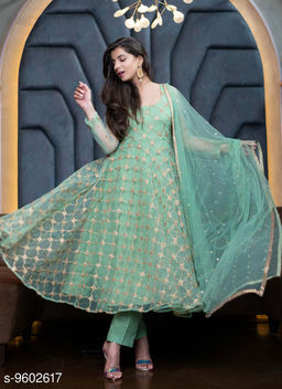 Beautiful Designer Wear Turquoise Codding Embroidered Dress With Silk Pant