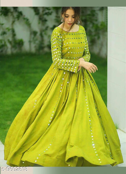 STUNNING GREEN COLORED EMBRODEIRY FLOOR TOUCH GOWN