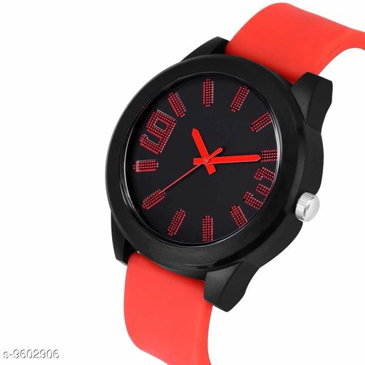 MT - 103 Red :- Black Dial Red Rubber Belt Analogue MT Watch for Men's and Boy's  1 Pcs