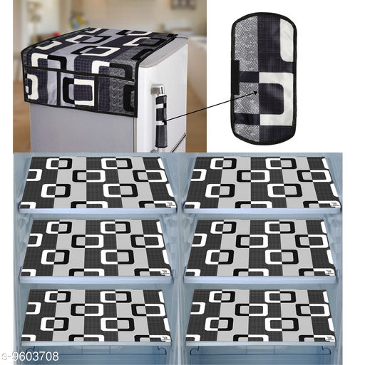 E-Retailer® Combo of Exclusive Decoratived 1 Pc Fridge Top Cover with 6 Utility Pockets, 1 Pc Fridge Handle Cover And 6 Pc Fridge Mats (Black, Set of 8)