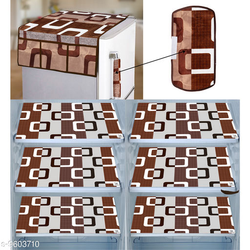 E-Retailer® Combo of Exclusive Decoratived 1 Pc Fridge Top Cover with 6 Utility Pockets, 1 Pc Fridge Handle Cover And 6 Pc Fridge Mats (Brown, Set of 8)