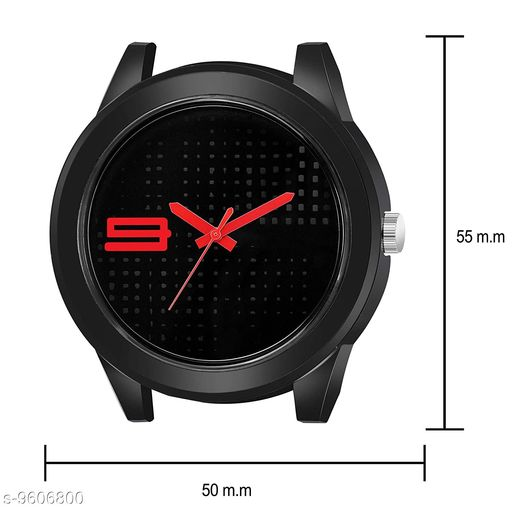 Black Dial Red Rubber Belt and Black Case Analogue MT Watch for Men's and Boy's