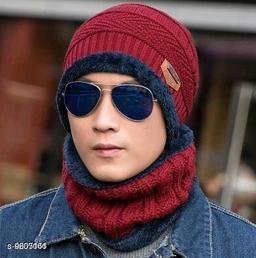 PinKit Ultra Soft Unisex Woolen Beanie Cap + Neck Scarf Set for Men and Women - Warm, Snow Proof - (Maroon)