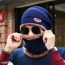 PinKit Ultra Soft Unisex Woolen Beanie Cap + Neck Scarf Set for Men and Women - Warm, Snow Proof - (Navy Blue)
