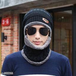 PinKit Ultra Soft Unisex Woolen Beanie Cap + Neck Scarf Set for Men and Women - Warm, Snow Proof - (Black)