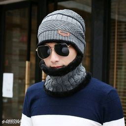 PinKit Ultra Soft Unisex Woolen Beanie Cap + Neck Scarf Set for Men and Women - Warm, Snow Proof - (Grey)