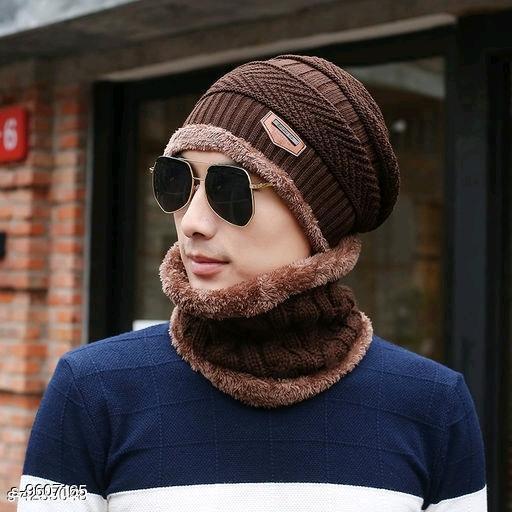 PinKit Ultra Soft Unisex Woolen Beanie Cap + Neck Scarf Set for Men and Women - Warm, Snow Proof - (Brown)
