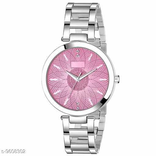 MT - 203 STEEL PINK Dial Silver  Chain Belt MT Analogue Watch for Girl's and Women's (1 PCS)