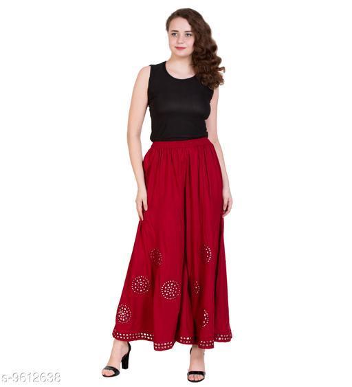 Priyafab Rayon Straight Sharara Plazzo Flair Bottom Embroidery For Women