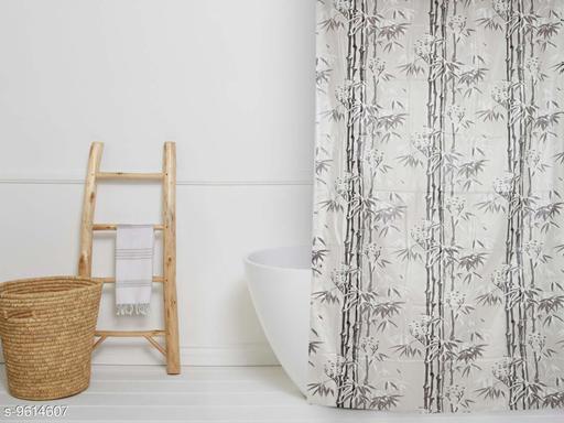 "Fabfurn Bamboo Leaf Design single piece Waterproof Shower Curtain for Bathroom, 7 Feet PVC Curtain with 8 Hooks – 54""x 84"", grey Color"