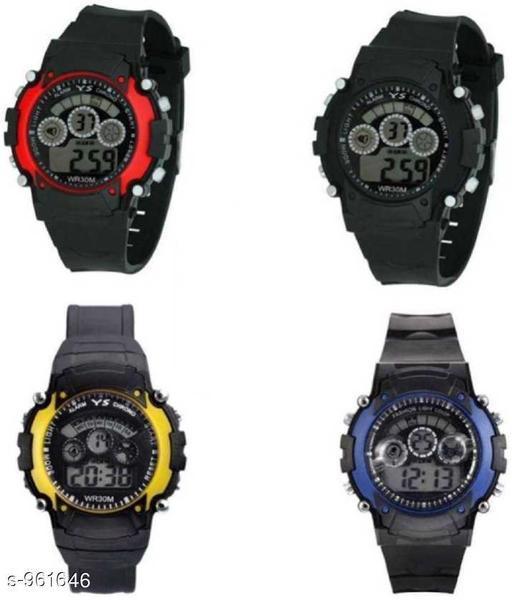 Stylish Plastic Digital Kid's Watches (Pack Of 4)