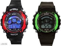 Stylish Plastic Digital Kid's Watches (Pack Of 2)