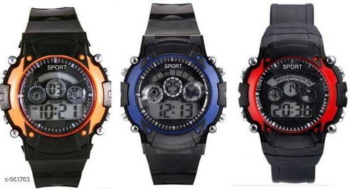 Stylish Plastic Digital Kid's Watches (Pack Of 3)