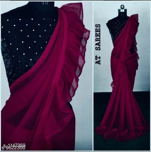 Beautiful Royal Georgette Sarees with Ruffle