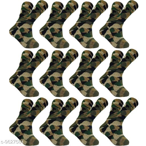 PinKit Men's Woollen Cotton Army Patterned Camouflage Socks (Olive Green, Pack of 12 Pairs)