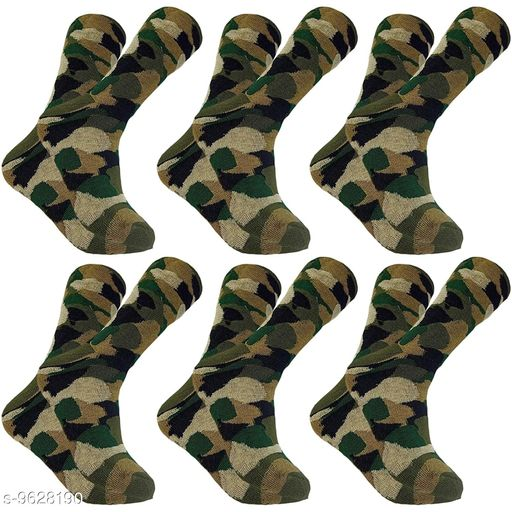 PinKit Men's Woollen Cotton Army Patterned Camouflage Socks (Olive Green, Pack of 6 Pairs)