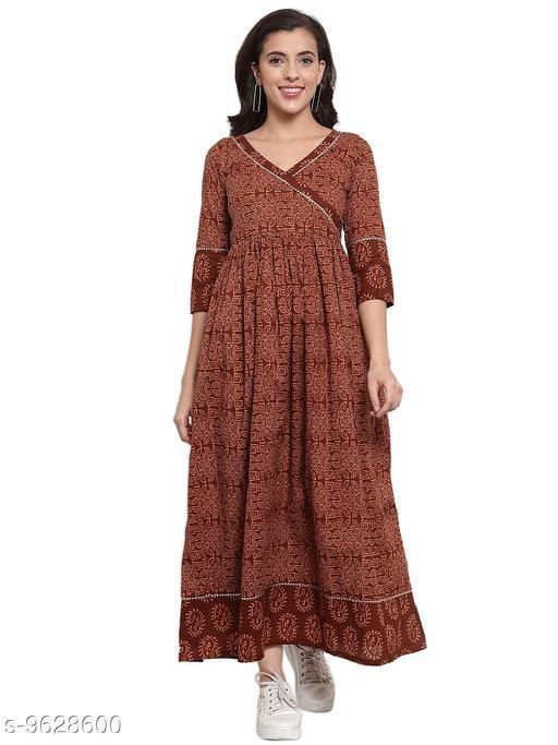 Indibelle Cotton Brown Floral Print A-Line Dress