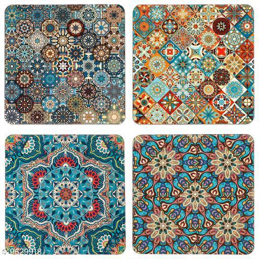 Mandala Print Coasters in MDF (Set of 4)