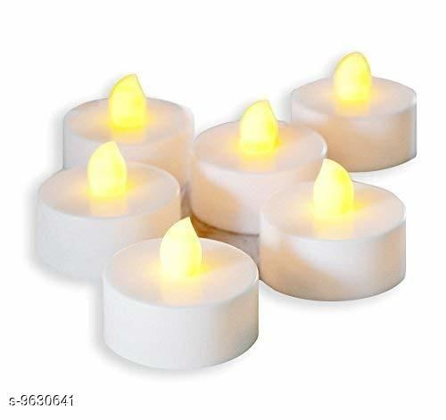 Festive Diyas & Candles Diwali Diya Flameless Warm White LED Diya Tealigh with Replaceable Battery Smokeless Candle (6 Pieces)  *Material* Plastic  *Type * Diya Set  *Diya Type * Table  *Pack* Pack Of 6  *Product Length* 4 Inch  *Product Breadth* 2 Inch  *Sizes Available* Free Size *    Catalog Name: Diwali Diya Flameless Warm White LED Diya Tealigh with Replaceable Battery Smokeless Candle (6 Pieces) CatalogID_1703312 C128-SC1604 Code: 234-9630641-