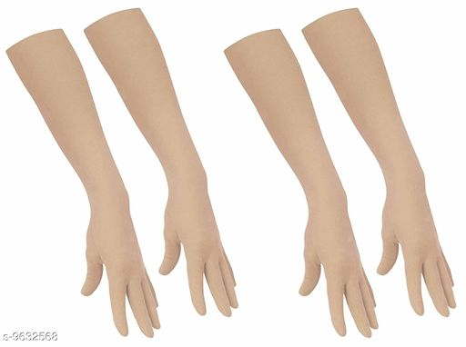 PinKit Gloves for Women's and men Cotton Hosiery Full Hand Gloves Suitable For All Weather Protection From Pollution Sun Burn Dust, Color Beige (Pack of 2 Pair)