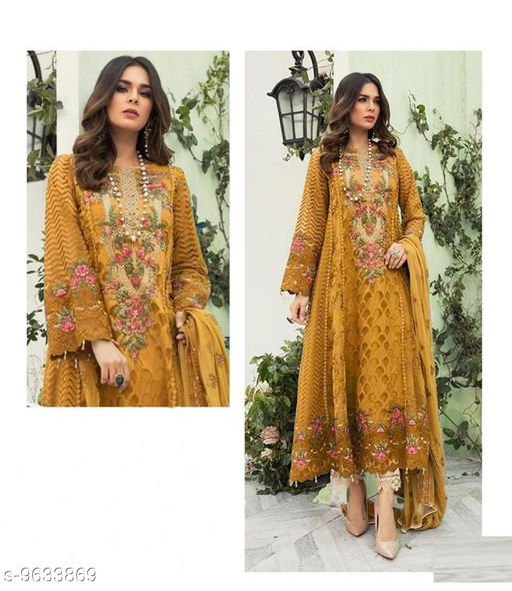 Semi Stitched Suits Beautiful Pakistani Salwar Kameez  *Top Fabric* Georgette  *Bottom Fabric* Georgette  *Dupatta Fabric* Chiffon  *Pattern* Embroidered  *Multipack* Single  *Sizes*   *Free Size (Bottom Length Size* 2.5 m, Dupatta Length Size  *Sizes Available* Free Size *    Catalog Name: Aakarsha Ensemble Semi-Stitched Suits CatalogID_1704240 C74-SC1522 Code: 2991-9633869-