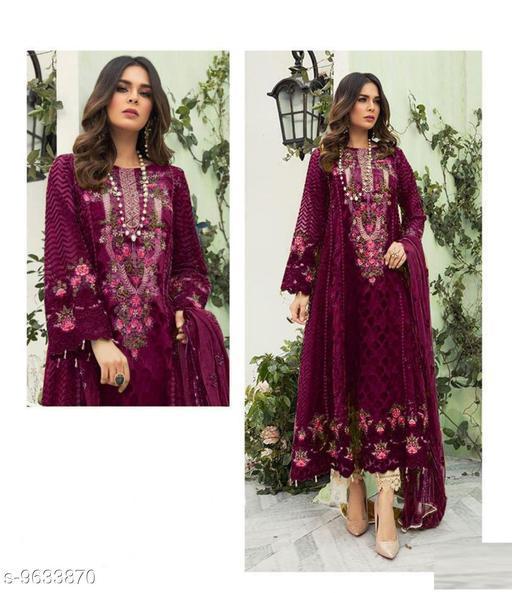 Semi Stitched Suits Beautiful Pakistani Salwar Kameez  *Top Fabric* Georgette  *Bottom Fabric* Georgette  *Dupatta Fabric* Chiffon  *Pattern* Embroidered  *Multipack* Single  *Sizes*   *Free Size (Bottom Length Size* 2.5 m, Dupatta Length Size  *Sizes Available* Free Size *    Catalog Name: Aakarsha Ensemble Semi-Stitched Suits CatalogID_1704240 C74-SC1522 Code: 2991-9633870-