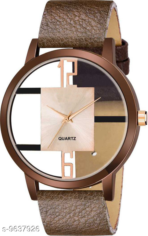 KicK GR-Open-leather-Brown_6 to 12 Dial Premium Quality leather Strap Designer Fashion Wrist Analog Watch