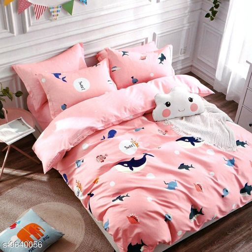 Good Quality Printed Glace Cotton Double Bed sheet with two Pillow Covers.
