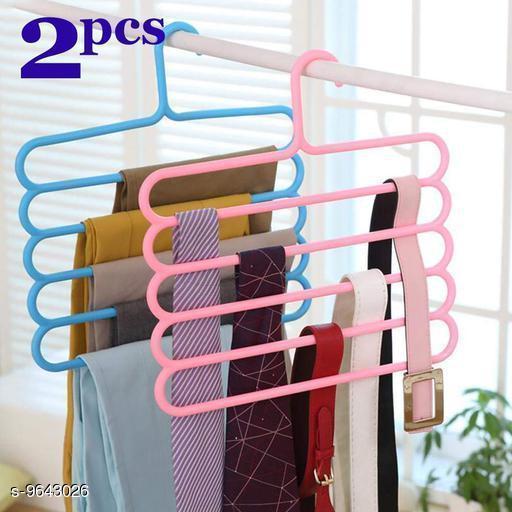5 Layer Pants Clothes Hanger Wardrobe Storage Organizer Rack (Set of 2), 32l x 1b x 33h cm (Assorted Colour)