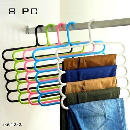 5  Layer Pants Clothes  Hanger Wardrobe Storage Organizer Rack(Set of 8),32l x 1b x 33h cm ( Assorted Colour)