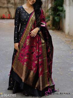 Women's Black Taffeta Silk Gown with dupatta