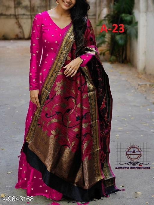 Designer Rani colored Tapeta satin Top with Digital Multi printed Dupatta