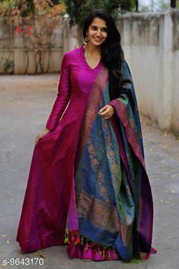 Designer Wear Maroon Tafeta Silk Readymade Gown