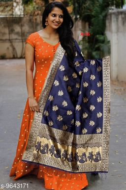 Designer Wear Orange Tafeta Silk Readymade Gown