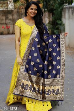 Designer Wear yellow  Tafeta Silk Readymade Gown