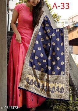Designer Wear Peach  Tafeta Silk Readymade Gown