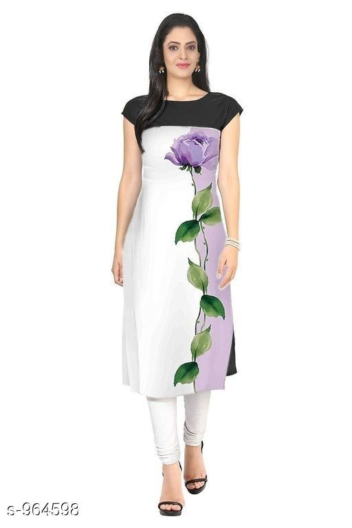 Kurtis & Kurtas Women Botanical Printed Crepe Kurti  *Fabric* American Crepe  *Sleeves* Short Sleeves Are Included  *Size* M- 38 in, L- 40 In, Xl- 42, XXl- 44 in  *Length* Up To 44 in  *Type* Stitched  *Description* It Has 1 Piece Of Women's Kurti  *Work* Printed  *Sizes Available* S, M, L, XL, XXL   Catalog Rating: ★3.8 (1404) Supplier Rating: ★3.9 (13881) SKU: 5 Shipping charges: Rs1 (Non-refundable) Pkt. Weight Range: 600  Catalog Name: Women's Printed Crepe Kurtis - Crepe wali Kurtis Code: 262-964598--863