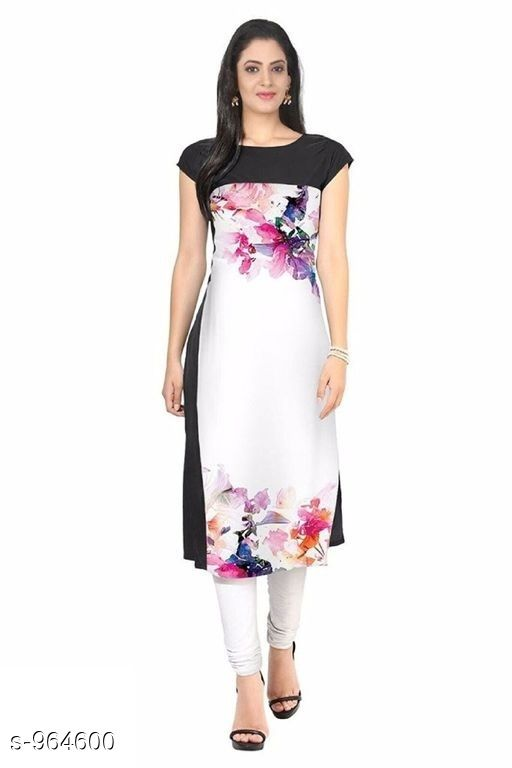 Kurtis & Kurtas Women Floral Printed Crepe Kurti  *Fabric* American Crepe  *Sleeves* Short Sleeves Are Included  *Size* M- 38 in, L- 40 In, Xl- 42, XXl- 44 in  *Length* Up To 44 in  *Type* Stitched  *Description* It Has 1 Piece Of Women's Kurti  *Work* Printed  *Sizes Available* S, M, L, XL, XXL   Catalog Rating: ★3.8 (1404) Supplier Rating: ★3.9 (13881) SKU: 13 Shipping charges: Rs1 (Non-refundable) Pkt. Weight Range: 600  Catalog Name: Women's Printed Crepe Kurtis - Crepe wali Kurtis Code: 262-964600--863