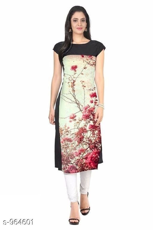 Kurtis & Kurtas Women Floral Printed Crepe Kurti  *Fabric* American Crepe  *Sleeves* Short Sleeves Are Included  *Size* M- 38 in, L- 40 In, Xl- 42, XXl- 44 in  *Length* Up To 44 in  *Type* Stitched  *Description* It Has 1 Piece Of Women's Kurti  *Work* Printed  *Sizes Available* S, M, L, XL, XXL   Catalog Rating: ★3.8 (1404) Supplier Rating: ★3.9 (13881) SKU: 14 Shipping charges: Rs1 (Non-refundable) Pkt. Weight Range: 600  Catalog Name: Women's Printed Crepe Kurtis - Crepe wali Kurtis Code: 262-964601--863