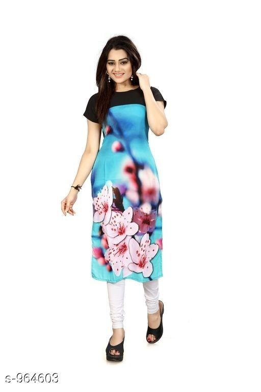 Kurtis & Kurtas Women Floral Printed Crepe Kurti  *Fabric* American Crepe  *Sleeves* Short Sleeves Are Included  *Size* M- 38 in, L- 40 In, Xl- 42, XXl- 44 in  *Length* Up To 44 in  *Type* Stitched  *Description* It Has 1 Piece Of Women's Kurti  *Work* Printed  *Sizes Available* S, M, L, XL, XXL   Catalog Rating: ★3.8 (1404) Supplier Rating: ★3.9 (13881) SKU: 27 Shipping charges: Rs1 (Non-refundable) Pkt. Weight Range: 600  Catalog Name: Women's Printed Crepe Kurtis - Crepe wali Kurtis Code: 262-964603--863