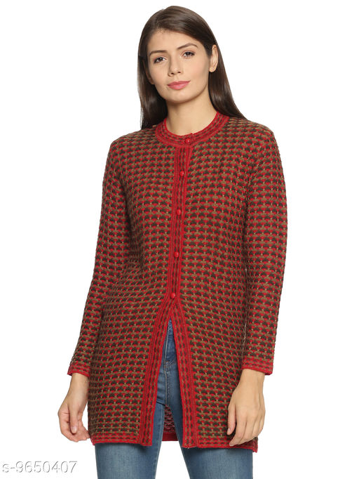 Clapton Women's Round Neck Acrylic Blend Full Sleeve Outer Long Buttoned with 2 Pockets Casual Sweater Cardigan