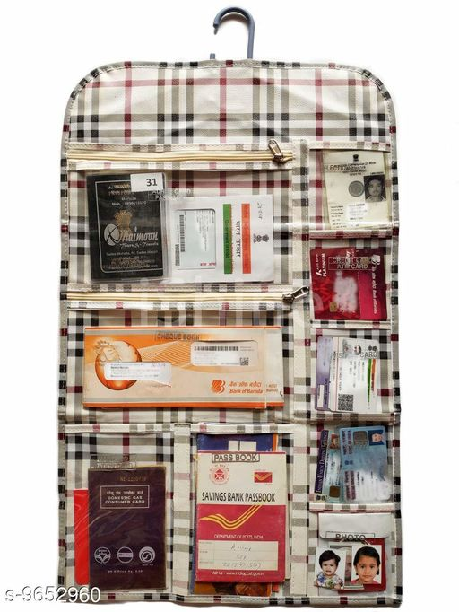 MAYNEISHA 11 Pockets Documents Organiser Checks (Cream)