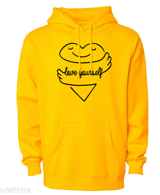 Divra Clothing Unisex Regular Fit Love Yourself Printed Cotton Hoodie