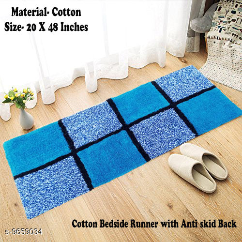 Cotton Check Bedside  Runner with Anti Skid Back