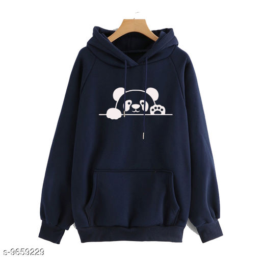 Divra Clothing Unisex Regular Fit Panda Printed Cotton Hoodie