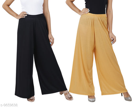 Buy That Trendz M to 6XL Cotton Viscose Loose Fit Flared Wide Leg Palazzo Pants for Women Black Dark Skin Combo Pack of 2