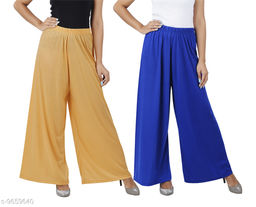 Buy That Trendz M to 6XL Cotton Viscose Loose Fit Flared Wide Leg Palazzo Pants for Women Dark Skin Royal Blue Combo Pack of 2