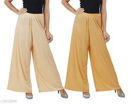 Buy That Trendz M to 6XL Cotton Viscose Loose Fit Flared Wide Leg Palazzo Pants for Women Light Skin Dark Skin Combo Pack of 2