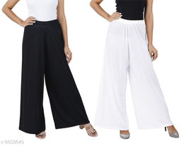 Buy That Trendz M to 6XL Cotton Viscose Loose Fit Flared Wide Leg Palazzo Pants for Women Black White Combo Pack of 2
